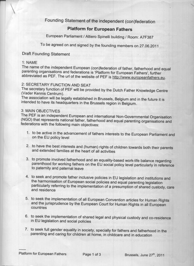 Founding Statement of the Platform for European Fathers (PEF) - Page 1 of 3