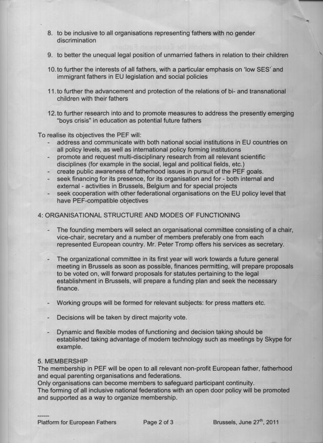 Founding Statement of the Platform for European Fathers (PEF) - Page 2 of 3 (Doubleclick to enlarge)
