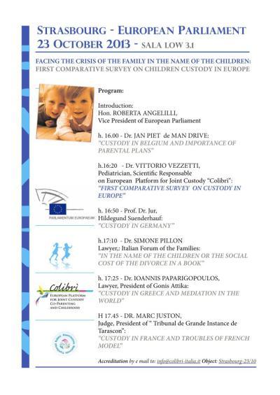 """""""Custodia en Europa 'Mini-conferencia en Estrasburgo, Francia el 23 de octubre de 2013 20131023_mini-conference_custody_in_europe_ep_strasbourg"""